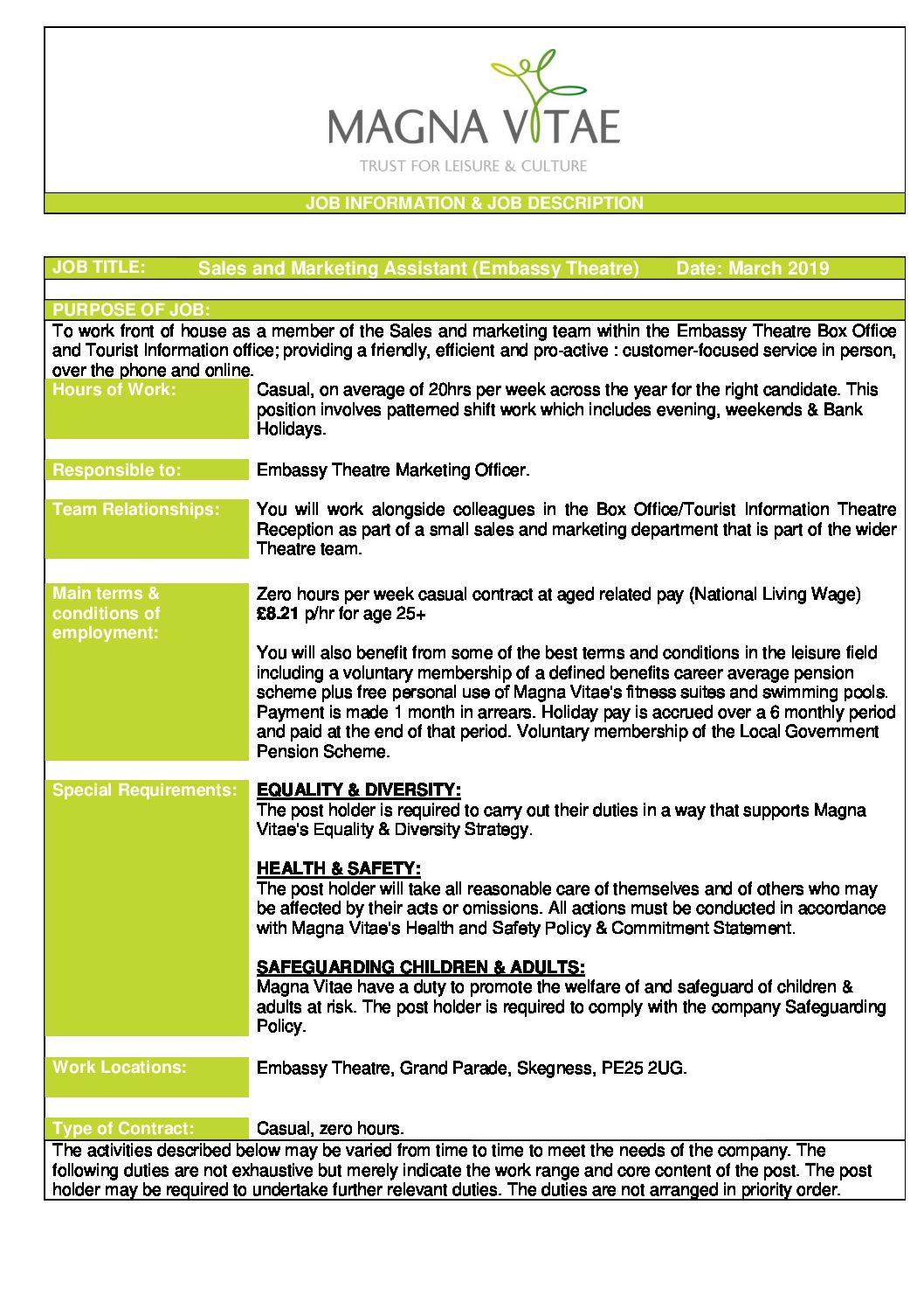 Sales Marketing Assistant March 2019 Job Description Embassy Theatre